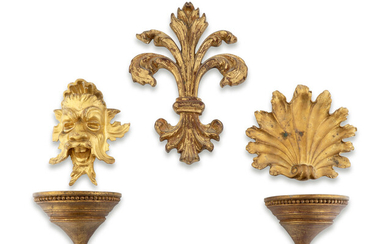 A Group of Five Carved Gilt Wood and Compostion Items