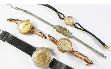 A LADY'S GOLD WRISTWATCH BY TUDOR the signed circular dial w...