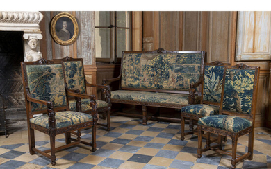 A Louis XIII style set of two armchairs, two chairs, and a sofa, XIXth century. Sofa H 122 x W 167 x D 61 cm