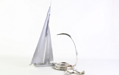A Metal Model Spitfire Plane on Stand, missing bolt with a Metal Model Yacht