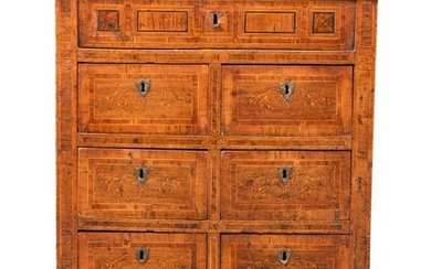 A NORTH ITALIAN WALNUT, INDIAN ROSEWOOD AND FRUITWOOD COMMODE, LATE 18TH/EARLY 19TH CENTURY
