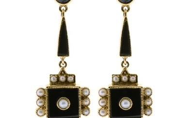 A PAIR OF 9CT GOLD ONYX AND SEED PEARL EARRINGS; drop earrings in the Victorian style set with onyx and seed pearls to post and butt...