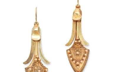 A PAIR OF ANTIQUE DROP EARRINGS, 19TH CENTURY in yellow