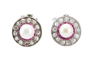 A PAIR OF CULTURED PEARL, RUBY AND DIAMOND EARRINGS