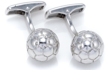 A PAIR OF DUNHILL STERLING SILVER CUFFLINKS; each in the form of a 12.8mm round football, wt. 26.56g, boxed.