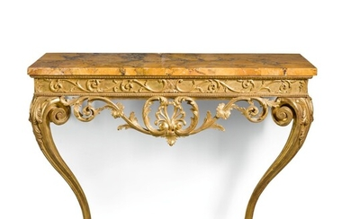 A PAIR OF GEORGE III CARVED GILTWOOD CONSOLE TABLES, CIRCA 1770