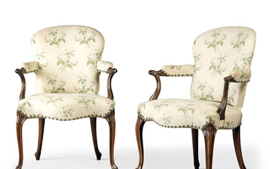 A PAIR OF GEORGE III MAHOGANY OPEN ARMCHAIRS, CIRCA 1775