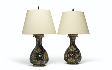 A PAIR OF JAPANESE CLOISONNE ENAMEL ON PORCELAIN PEAR-FORM VASES, MOUNTED AS LAMPS, MEIJI PERIOD (1868-1912)