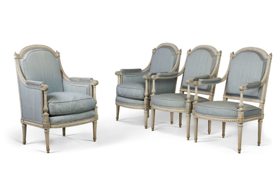 A PAIR OF LOUIS XVI GREY-PAINTED BERGERES AND A PAIR OF FAUTEUILS, BY NICOLAS-DENIS DELAISEMENT, LATE 18TH CENTURY