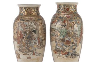 A PARI OF POLYCHROME AND GOLD ENAMELED JAPANESE CERAMIC VASES EARLY 20TH CENTURY.