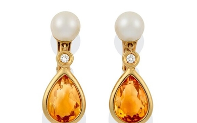 A Pair of Citrine and Cultured Pearl Drop Earrings, an...