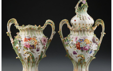 A Pair of Coalbrookdale Porcelain Two-Handle Mantle Vases (circa 1830)