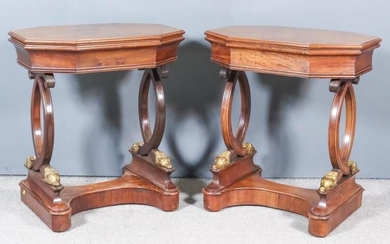 A Pair of French Colonial Hardwood and Parcel Gilt...