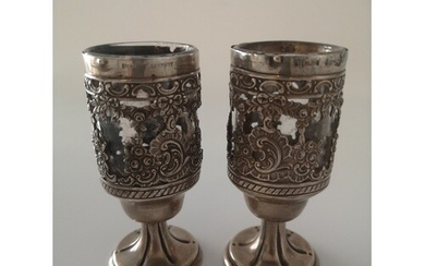 A Pair of German Silver Mounted Goblets and covers with Glas...
