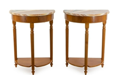 A Pair of Onyx and Walnut Console Tables Height 29 3/4