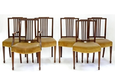 A SET OF SIX MAHOGANY DINING CHAIRS, EARLY 20TH C, ON SQUARE...