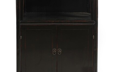 A SMALL CHINESE BLACK LACQUERED BOOK CABINET QING DYNASTY (1644-1912), CIRCA 19TH CENTURY