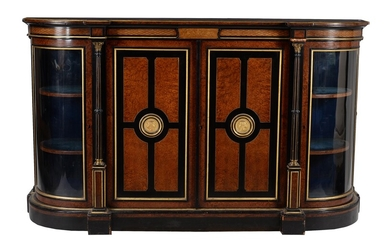 A Victorian amboyna, burr walnut, ebonised, and parcel gilt credenza