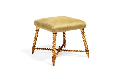 A Victorian giltwood and upholstered stool