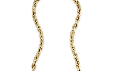 A fourteen karat gold necklace cable link chain. 35.0...