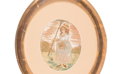 A framed 19th century embroidery.