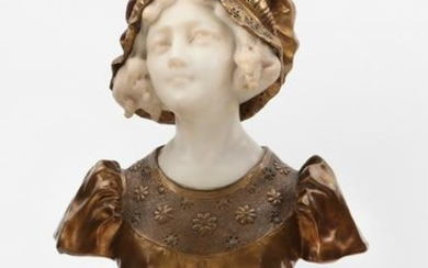 A gilt bronze and carved marble bust of a woman