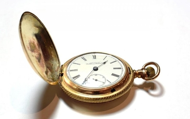 A gold plated full hunter pocket watch, signed Waltham Watch...
