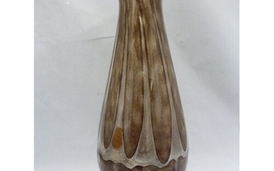 A large air trap 'souffle' glass vase, of onion form with fl...
