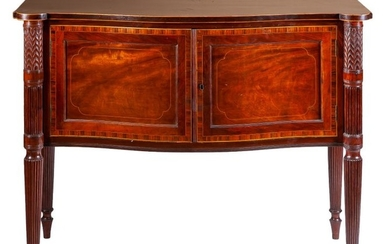 A mahogany and fruitwood marquetry sideboard