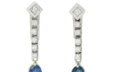 A pair of sapphire and diamond clip earrings.