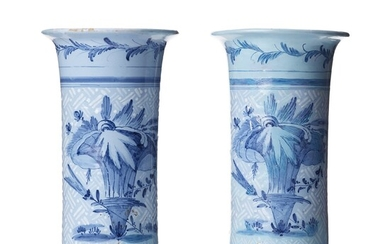 A pair of trumpet shaped Swedish faience vases, mid 18th Century.