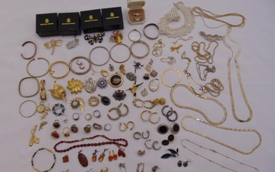 A quantity of silver and costume jewellery to include...