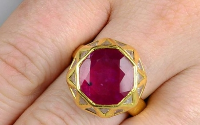 A ruby and diamond 'Sacred Shapes' ring, attributed to