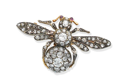 A ruby and diamond bee brooch, circa 1890