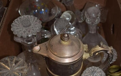A silver plated and cut glass claret jug, and various glass ...
