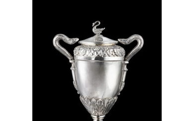 A silver vase. Veneto, early 19th century. Lid not pertinent...