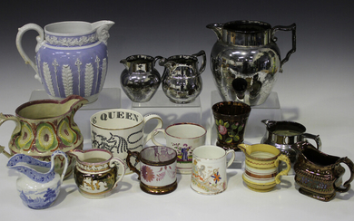 A small group of Staffordshire pottery jugs, mugs and beakers, 19th century, including a lilac groun