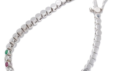 AN 18CT WHITE GOLD DIAMOND AND GEMSTONE TENNIS BRACELET; 3.5mm wide collet links centring 5 round cut emeralds totalling 0.50ct, 4 r...