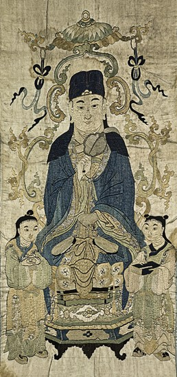 AN EMBROIDERED SILK 'DAOIST' PANEL LATE MING DYNASTY | 晚明 絹繡道教神仙圖掛屏