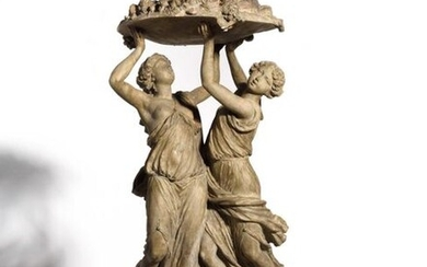 According to Claude Michel dit Clodion (1738-1814) Two young women - or nymphs - carrying with four arms a cup laden with fruit Spectacular terracotta print H. 57 cm (height 57 cm) Resting on a gilded and moulded wooden base H. 11 cm (height 11 cm)...
