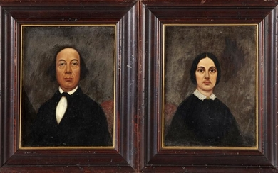 "American School, ""Pair of Portraits of a Couple,"" 19th"