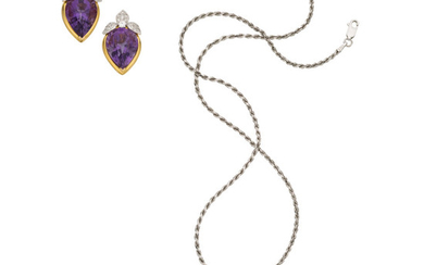 Amethyst, Diamond, Gold Jewelry Suite The suite consists of...