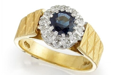 An 18ct gold, sapphire and diamond ring,...