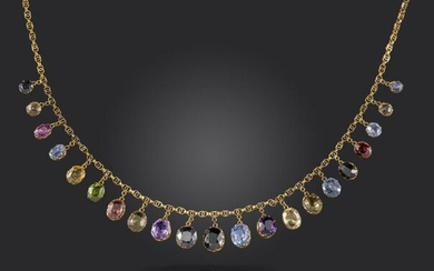 An Edwardian gold fringe necklace, set with sapphires, garnets, amethysts and zircons in yellow gold collets on fancy-link yellow gold necklace, 38cm long