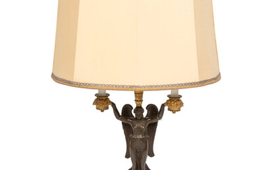An Empire Style Parcel-Gilt and Patinated Bronze Figural Candelabrum Mounted as a Lamp
