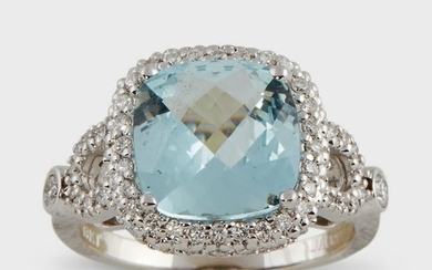 An aquamarine, diamond, and eighteen karat white gold