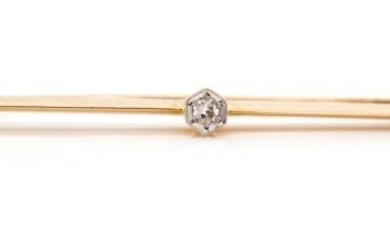 Antique 15ct rose gold and diamond bar brooch with a platinu...