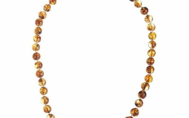 Antique Baltic Amber Round Bead Necklace