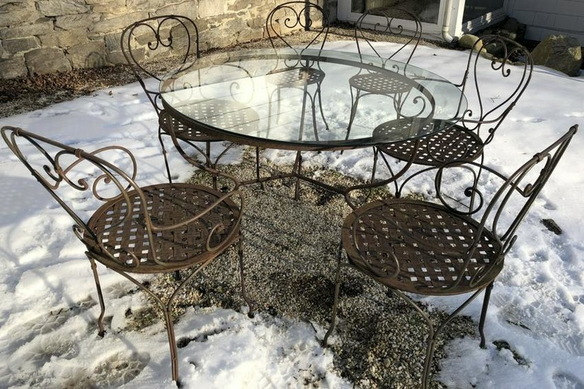 Antique Wrought & Woven Iron Outdoor Dining Set