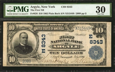 Argyle, New York. 1902 Plain Back $10 Fr. 626. The First NB. Charter #8343. PMG Very Fine 30.